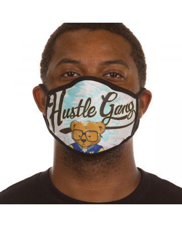 Hustle Bear Script Face Mask